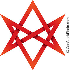 Red Unicursal Hexagram 3D - Six-pointed star that can be...