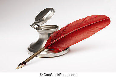 Antique pen and inkwell - Red quill pen with silver inkwell