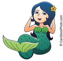 Mermaid Cartoon On Isolated White