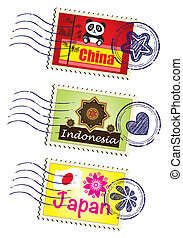 Stamp - travel landmark stamp set