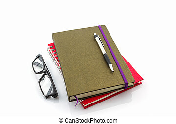 Group of book ,pen and glasses.