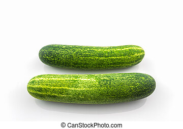 Fresh green cucumbers. - Fresh green cucumbers on white...