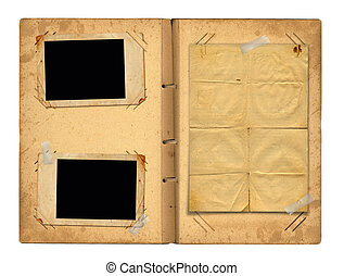 Open vintage photoalbum for photos on white isolated...