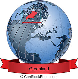 Greenland, position on the globe Vector version with...