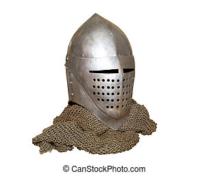 knights helmet and chainmail - old knight helmet and chain...