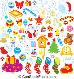 Christmas decorations - Set of colorful toys, balls and...