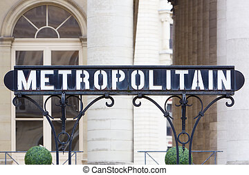 Paris subway, metro sign, France