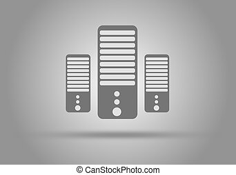 Concept of Computer Server icon, flat design. - Illustration...