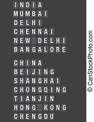 Airport Flip Board with Name of Cities in China and India