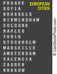 Name of European Cities on Airport Flip Board - Name of...