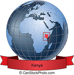 Kenya, position on the globe Vector version with separate...