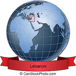 Lebanon, position on the globe Vector version with separate...