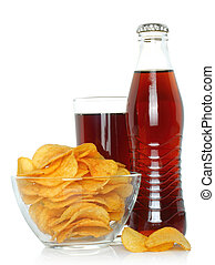 Bottle and glass of cola with potato chips - Bottle and...