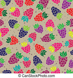 Decorative pattern with wild and garden berries Seamless...