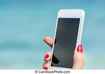 Smart Phone In Hand - Woman Hand Holding White Smart Phone