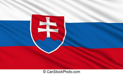 Slovakia flag, with real structure of a fabric