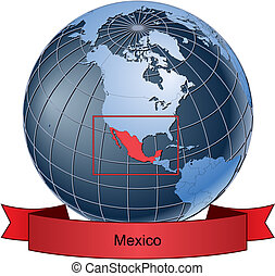 Mexico, position on the globe Vector version with separate...