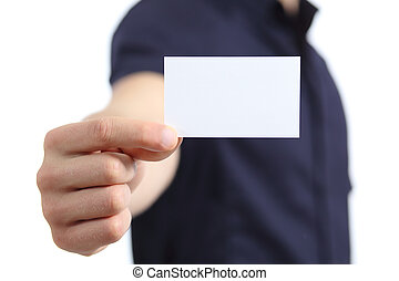 Business man hand holding a blank card isolated on a white...