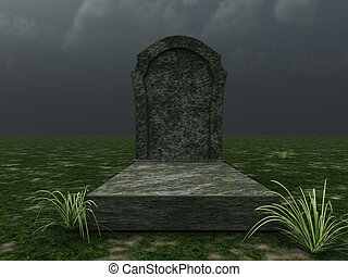 grave in front of cloudy sky - 3d illustration