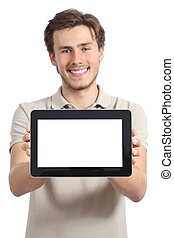 Happy man holding and showing a blank horizontal tablet...