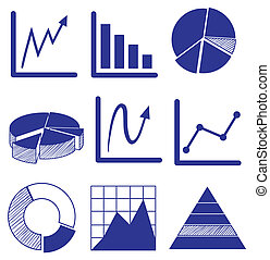 Different graphs in blue color - Illustration of the...