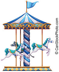 A merry-go-round ride - Illustration of a merry-go-round...