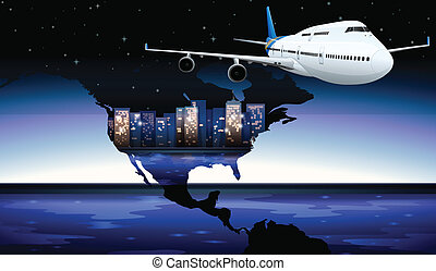 A plane travelling