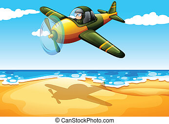 An aircraft at the beach - Illustration of an aircraft at...