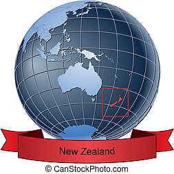 New Zealand, position on the globe Vector version with...