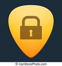 Guitar pick with a lock - Illustration of an isolated guitar...