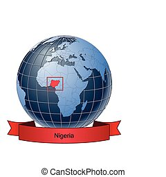 Nigeria, position on the globe Vector version with separate...