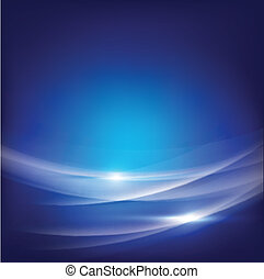 Abstract blue smooth wave flow background, vector...
