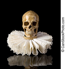 Death skull in elisabethan ruff collar - Spooky skull...