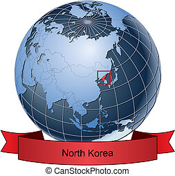 North Korea, position on the globe Vector version with...