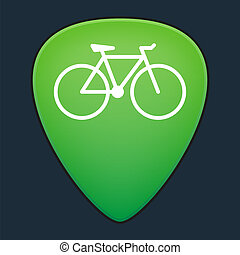 Guitar pick with a bicycle - Illustration of an isolated...