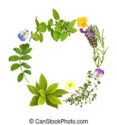 Herb Leaf and Floral Garland - Herb leaf garland of...