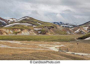 Landmannalaugar unbelievable landscape with tourist and...
