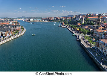 Portugalete and Sestao towns from Bizkaia suspension bridge...