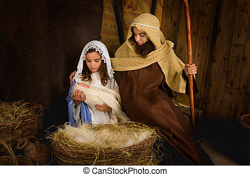 Children playing Christmas - Christmas nativity scene...