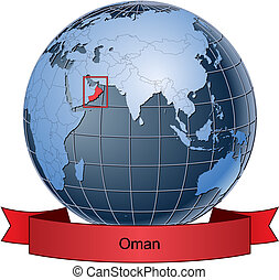 Oman, position on the globe Vector version with separate...