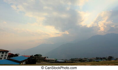 sunset at the airport Lukla - Timelapse sunset at the...
