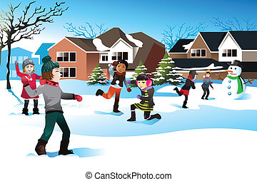 Kids playing snow ball fight