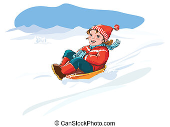 Kid sledge, snow - winter vacation - Happy kid sledding,...