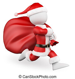 3D white people. Santa Claus running with big bag full of...