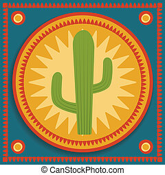 cactus on stylized background - green cactus on blue and...