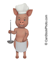 pig little cook - isolated on the white background