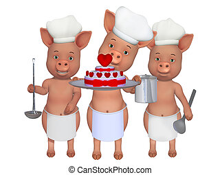 three cute cooks - isolated on the white background