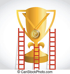 ladders to a gold trophy illustration design