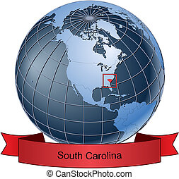 South Carolina, position on the globe Vector version with...