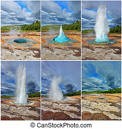 Card - collage of the geyser - Card memory. Gushing geyser...